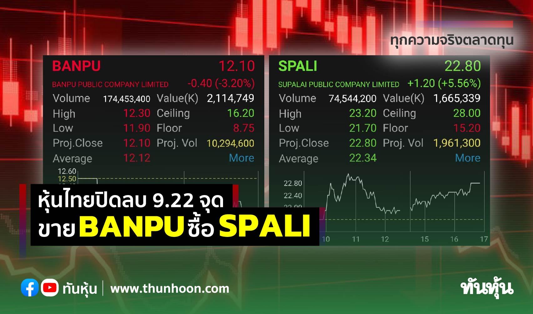 หุ้นไทยปิดลบ 9.22 จุด ขาย BANPU ซื้อ SPALI