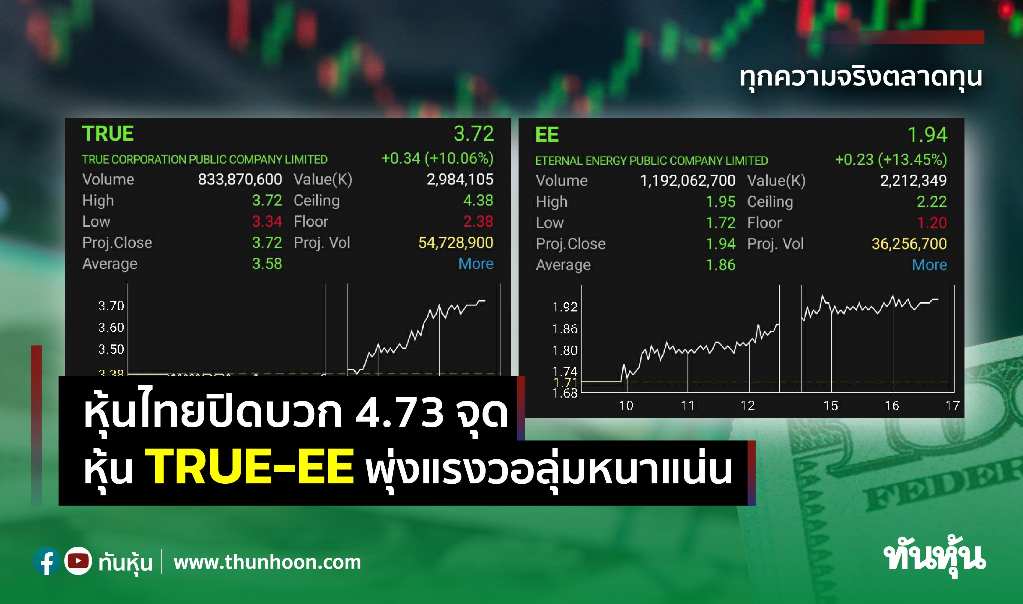 หุ้นไทยปิดบวก 4.73 จุด ซื้อหุ้น TRUE-EE พุ่งแรงวอลุ่มหนาแน่น